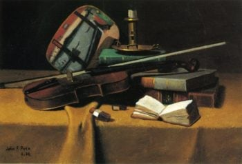 Violin Fan and Books | John Frederick Peto | oil painting