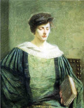 A Follower of Groliier   Julian Alden Weir   oil painting