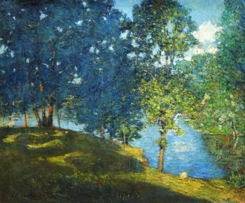 Afternoon by the Pond   Julian Alden Weir   oil painting