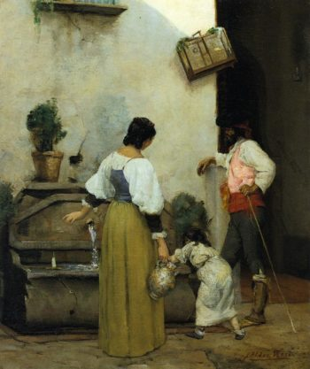 At the Water Trough | Julian Alden Weir | oil painting