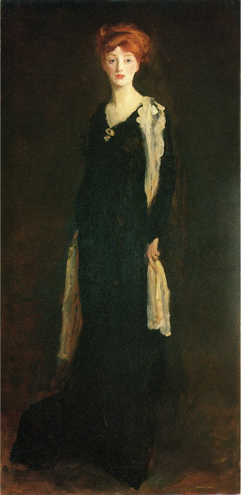 O in Black with Scarf | Robert Henri | oil painting