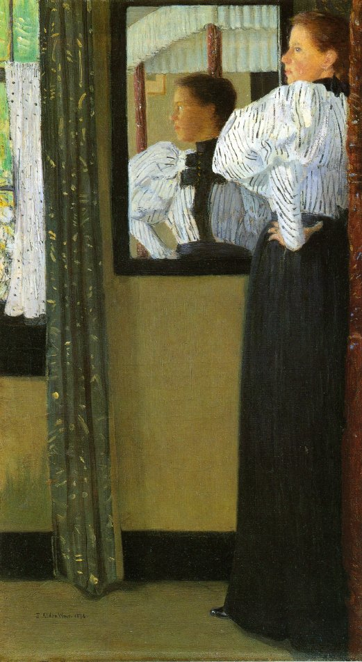 Face Reflected in a Mirror | Julian Alden Weir | oil painting