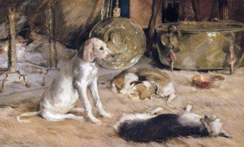Fireside Dreams   Julian Alden Weir   oil painting