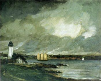 Pequot Light House Connecticut Coast | Robert Henri | oil painting