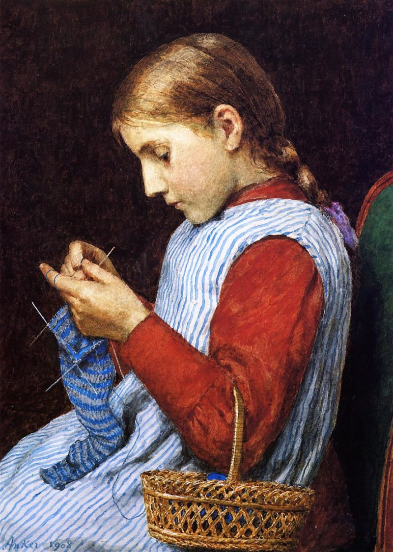 Girl Knitting | Julian Alden Weir | oil painting