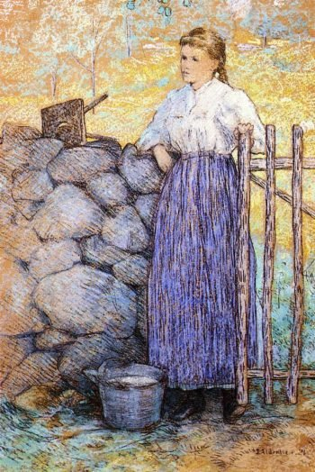 Girl Standing by a Gate | Julian Alden Weir | oil painting