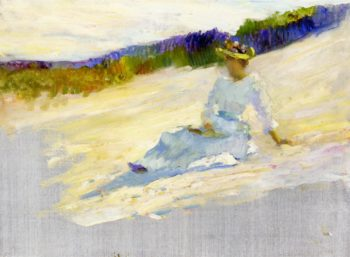 Sunlight Girl on Beach Avalon | Robert Henri | oil painting