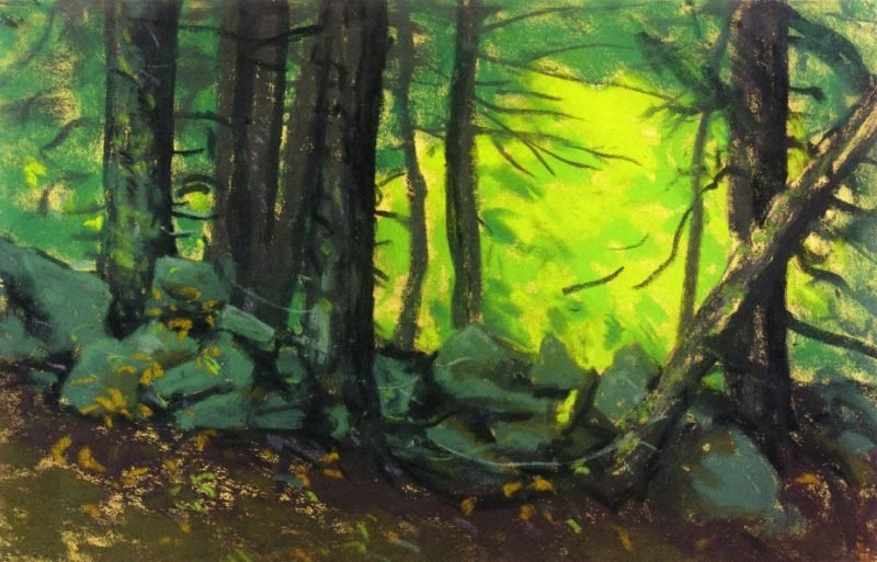 The Stone Wall with Woods   Robert Henri   oil painting