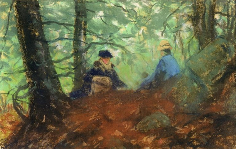 Two Girls in the Woods | Robert Henri | oil painting