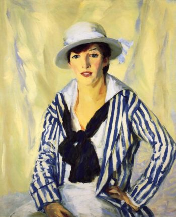 Viv in Blue Stripe | Robert Henri | oil painting