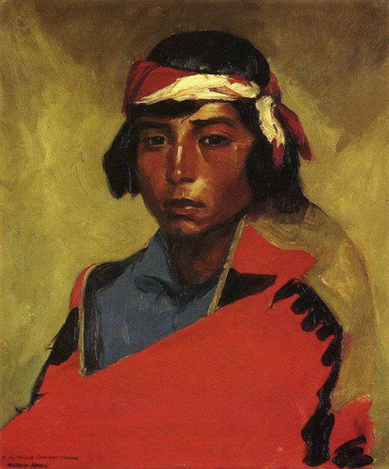 Young Buck of the Tesuque Pueblo | Robert Henri | oil painting