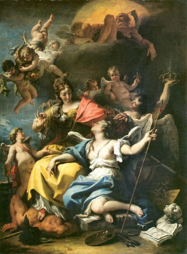 Allegory of France as Minerva is triumphing over Ignorance and Crowning the Virtue | Sebastiano Ricci | oil painting