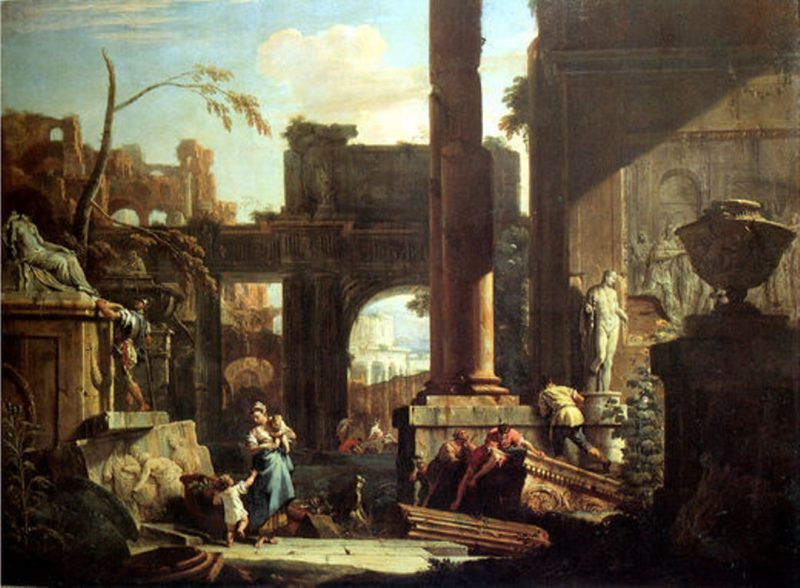 Classical Ruins and Figures   Sebastiano Ricci   oil painting