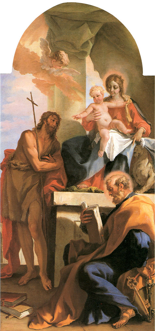 Madonna with Child St John the Baptist and St Peter | Sebastiano Ricci | oil painting