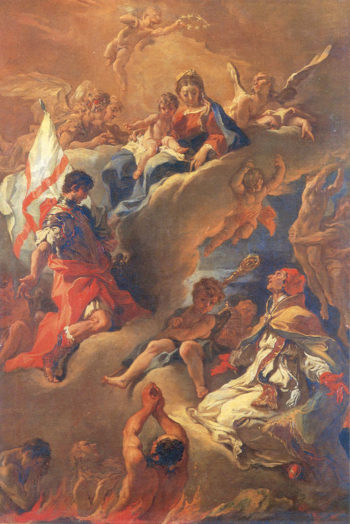 Pope Gregory the Great and Saint Vitalis Saving the Souls of Purgatory | Sebastiano Ricci | oil painting