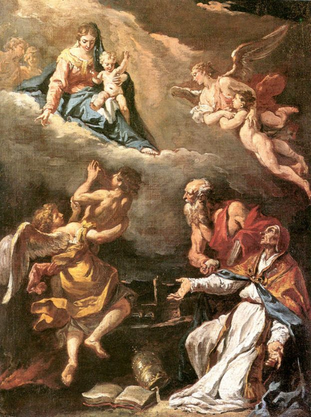 Pope Gregory the Great Saving the Souls of Purgatory   Sebastiano Ricci   oil painting