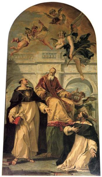 Pope Pius V with Saints Thomas Aquinas and Martyr Peter | Sebastiano Ricci | oil painting
