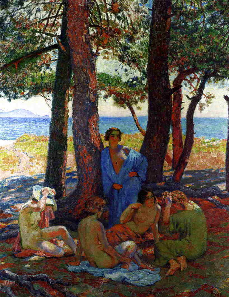 Bathers under the Pines by the Sea | Theo van Rysselberghe | oil painting