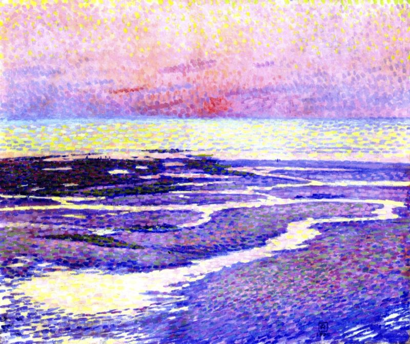 Beach at Low Tide Evening | Theo van Rysselberghe | oil painting