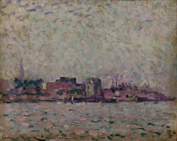 Brume matinal sur le port de Veere | Theo van Rysselberghe | oil painting