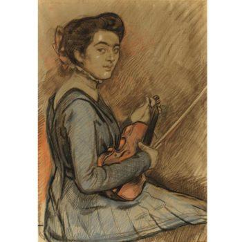 Druet au violon | Theo van Rysselberghe | oil painting