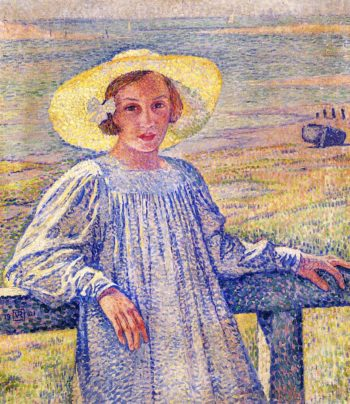 Elisaeth van Rysselberghe in a Straw Hat | Theo van Rysselberghe | oil painting