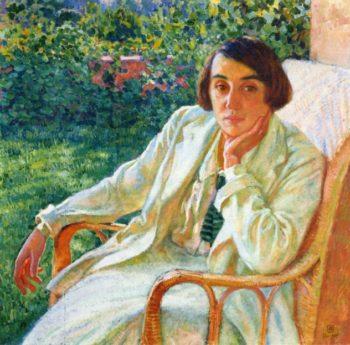 Elizabeth van Rysselberghe in a Cane Chair | Theo van Rysselberghe | oil painting