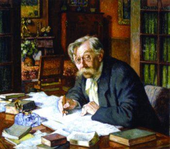 Emile Verhaeren Writing 1 | Theo van Rysselberghe | oil painting