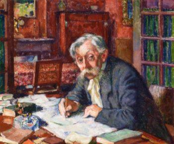 Emile Verhaeren Writing | Theo van Rysselberghe | oil painting