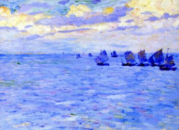 Fishing Boats Setting Sail | Theo van Rysselberghe | oil painting