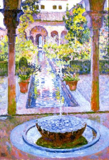 Fountain at the Generalife in Grenada | Theo van Rysselberghe | oil painting