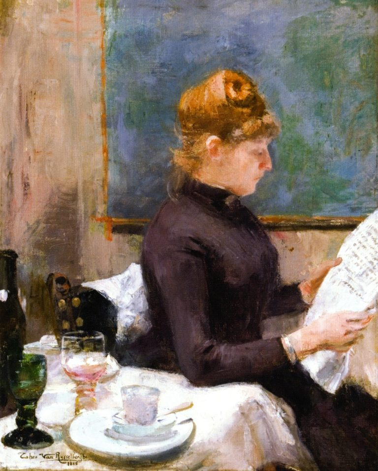 Lady Reading   Theo van Rysselberghe   oil painting