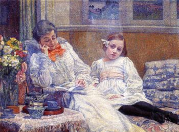 Madame Theo van Rysselberghe and Her Daughter | Theo van Rysselberghe | oil painting
