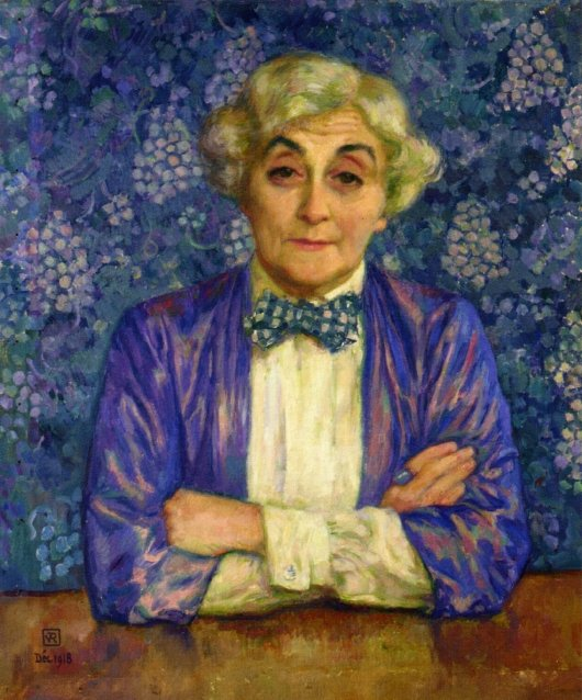 Madame van Rysselberghe in a Chedkered Bow Tie | Theo van Rysselberghe | oil painting