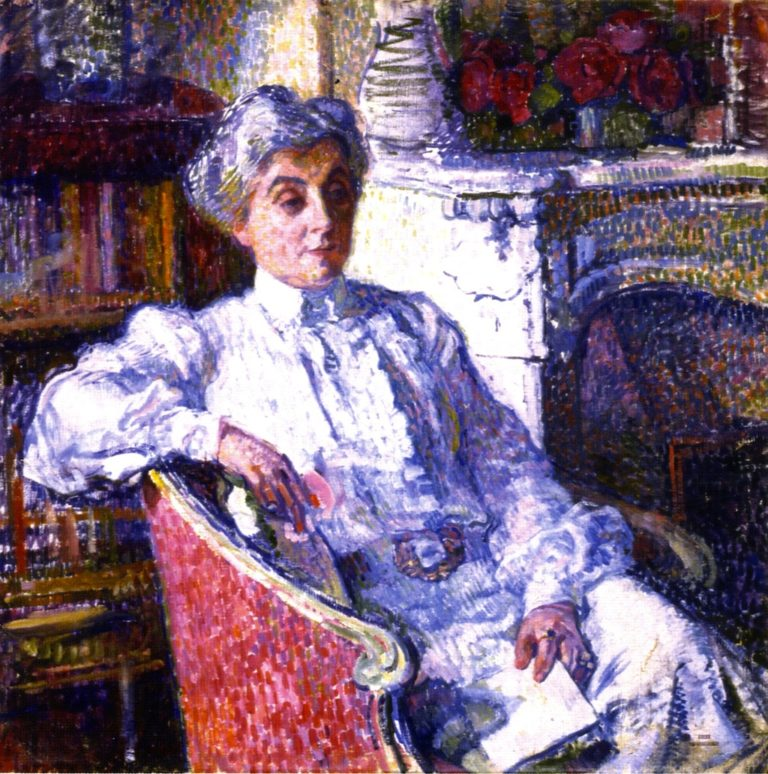 Maria van Rysselberghe in front of the Fire | Theo van Rysselberghe | oil painting