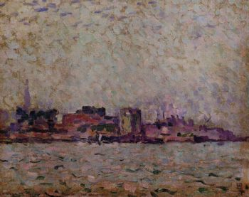 Morning Fog over the Port of Veer Holland | Theo van Rysselberghe | oil painting
