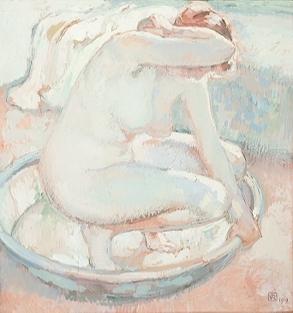 Nu accroupi au tub | Theo van Rysselberghe | oil painting