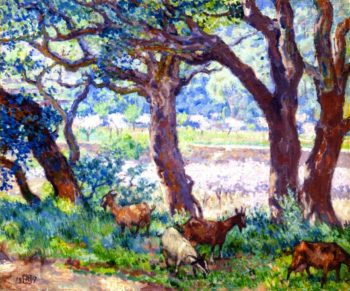 Peach Trees in Blossom Cork Oaks and Goats | Theo van Rysselberghe | oil painting