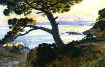 Pine at La Fossette Sunset | Theo van Rysselberghe | oil painting
