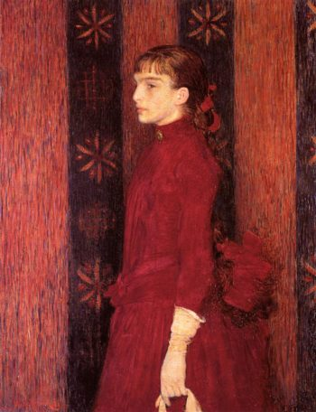 Portrait of a Young Girl in Red | Theo van Rysselberghe | oil painting