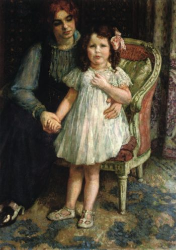Portrait of Madame Goldner Max and Her Daughter Juliette | Theo van Rysselberghe | oil painting