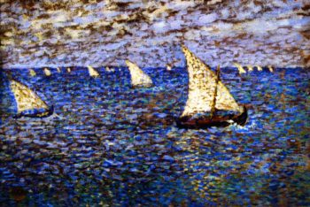 Sete Fishing Boats   Theo van Rysselberghe   oil painting