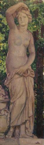 Statue dans le parc   Theo van Rysselberghe   oil painting