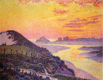 Sunset at Ambletsuse Pas de Calais | Theo van Rysselberghe | oil painting