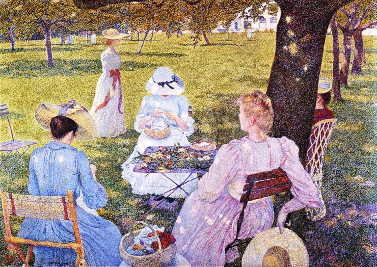 The Family in an Orchard | Theo van Rysselberghe | oil painting