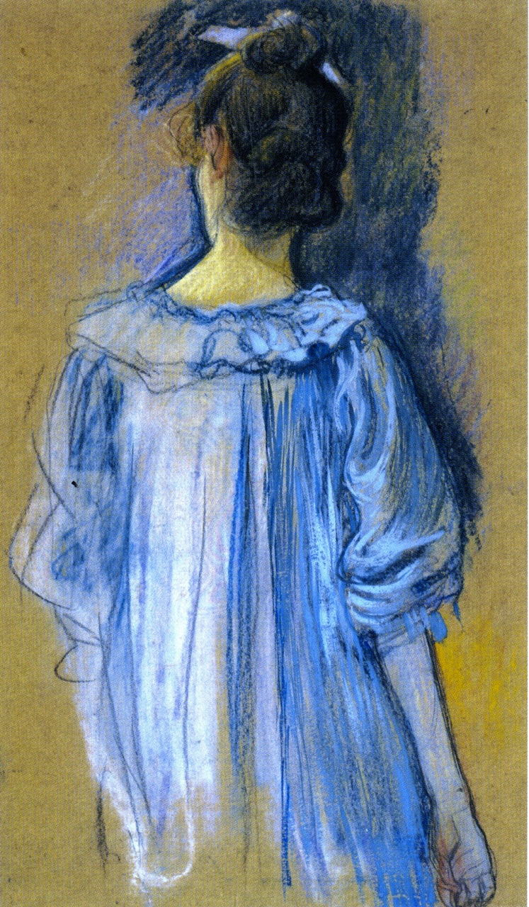 Woman in Blue seen from Behind | Theo van Rysselberghe | oil painting