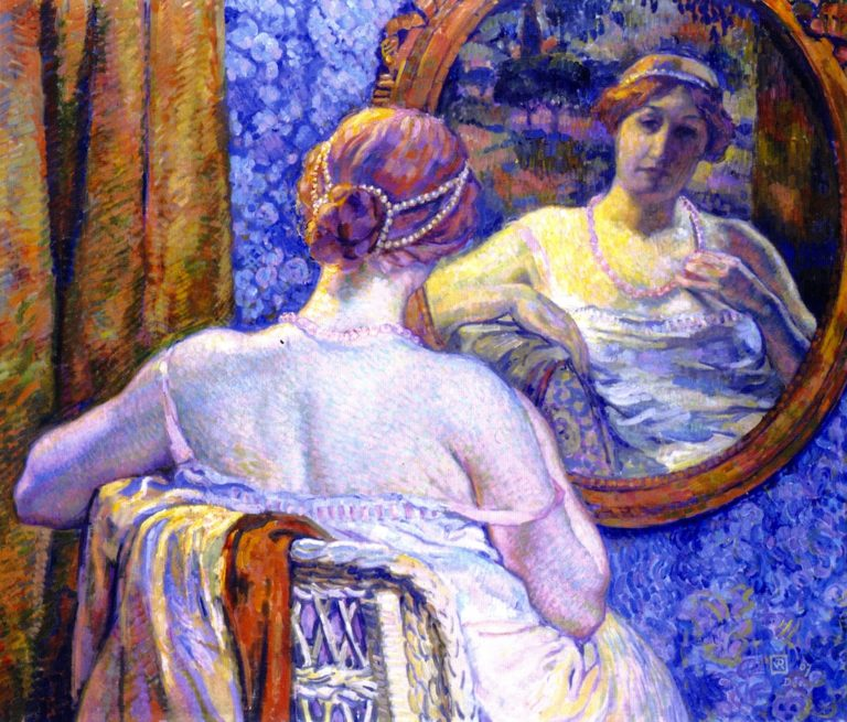 Woman with Red Necklace | Theo van Rysselberghe | oil painting