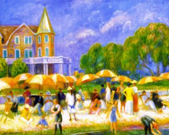 Beach Umbrellas at a Blue Point | William James Glackens | oil painting