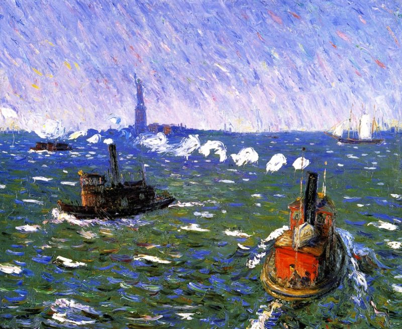 Breezy Day Tugboats New York Harbor | William James Glackens | oil painting