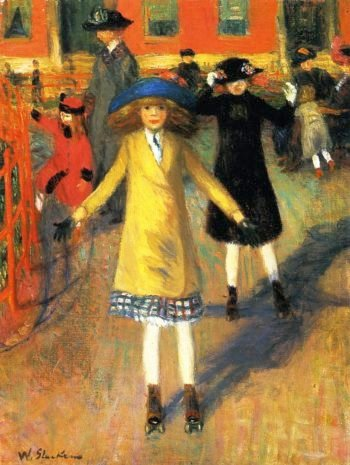 Children Roller Skating | William James Glackens | oil painting